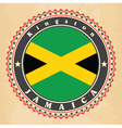 Vintage label cards of Jamaica flag vector image