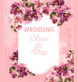 wedding invitation pink card spring floral vector image