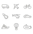 monochrome set with linear transport icons vector image
