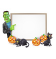 a cartoon halloween sign with frankenstein classic vector image vector image