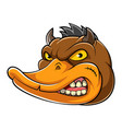 animal evil duck mascot vector image