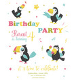 birthday party card with funny toucans vector image