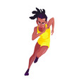 black woman in a yellow sport suit runs on a white vector image vector image
