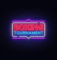 boxing tournament neon sign boxing design vector image vector image
