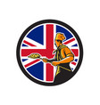 british pizza baker union jack flag icon vector image vector image