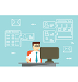 Businessman interactions by social media vector image vector image