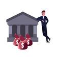 businessman money bank vector image vector image