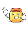 call me cream jar mascot cartoon vector image