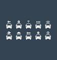 car service icons set auto symbols vector image
