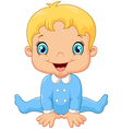 Cartoon baby boy wearing blue pajama vector image vector image