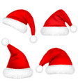 christmas santa claus hats with fur set new year vector image