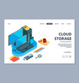 cloud storage landing page isometric storage of vector image vector image