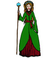 cute elf lady holding a staff vector image vector image
