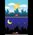 day and night view of a modern city vector image vector image