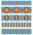 ethnic floral paisley stripe pattern border set vector image