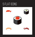 flat icon sushi set of seafood sashimi salmon vector image