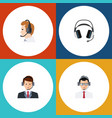 flat telemarketing set of telemarketing help vector image vector image