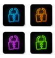 glowing neon broken or cracked lock icon isolated vector image vector image