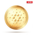 gold coin with cardano cryptocurrency sign vector image vector image