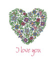 greeting card with hand-drawn floral heart vector image vector image