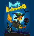 halloween witch flying on her broom vector image