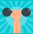 hand dumbbell banner flat style vector image