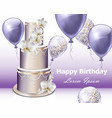 happy birthday cake and balloons party vector image
