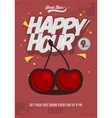 Happy Hour Poster For Advertising Cherry vector image vector image
