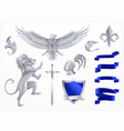 heraldic animals silver set vector image