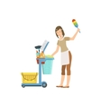 Hotel Professional Maid With Cleaning Equipment vector image vector image