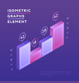 isometric vivid design of graph vector image vector image