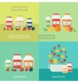 Jam and juice cards in flat style vector image