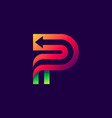 letter p logo with arrow inside vector image vector image