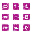 location finish icons set grunge style vector image vector image