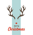 merry christmas greeting card with antlers vector image