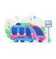 modern electric bus at stop vector image vector image