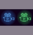 neon cinema projector in blue and green color vector image