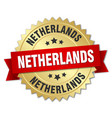 netherlands round golden badge with red ribbon vector image vector image