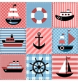 Patchwork with sea transport vector image vector image