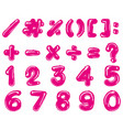 pink font design for numbers and signs vector image vector image