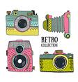 retro photo cameras set vintage cameras vector image