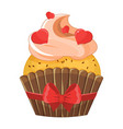 romantic cupcake on valentine s day vector image vector image
