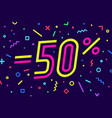 sale -50 percent banner for discount sale vector image vector image