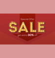 sale and discount retro letters with glowing vector image vector image