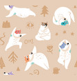 seamless pattern with yoga bears vector image