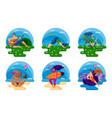set collection summer activities flat cartoon vector image vector image