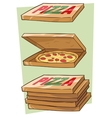 Set of cartoon cool pizza and box vector image vector image
