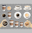set of coffee cups on transparent background vector image vector image