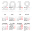 simple calendar for 2019 year week starts monday vector image vector image