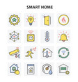 smart home icons with long shadow vector image vector image
